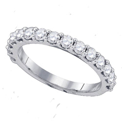 14kt White Gold Womens Round Diamond Band Wedding Anniversary Ring 1/4 Cttw