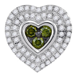 10kt White Gold Womens Round Green Colored Diamond Heart Cluster Pendant 1/2 Cttw