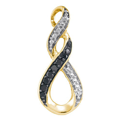10kt Yellow Gold Womens Round Black Colored Diamond Vertical Infinity Pendant 1/12 Cttw