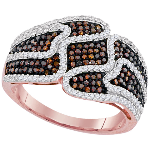 10kt Rose Gold Womens Round Red Colored Diamond Striped Cocktail Ring 3/4 Cttw