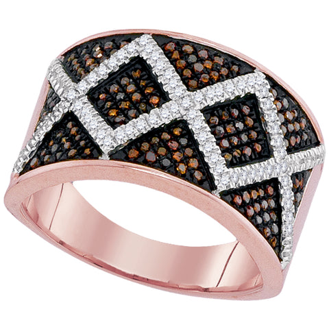 10kt Rose Gold Womens Round Red Colored Diamond Symmetrical Stripe Band 1/2 Cttw