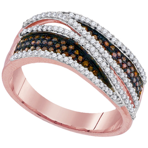 10kt Rose Gold Womens Round Red Colored Diamond Crossover Stripe Band Ring 1/2 Cttw