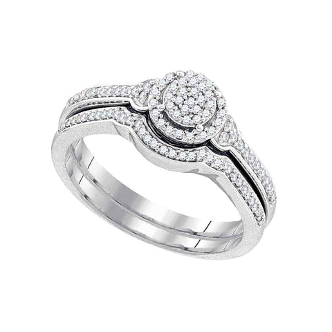 10k White Gold Womens Round Diamond Cluster Bridal Wedding Engagement Ring band Set 1/4 Cttw