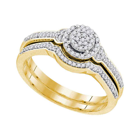 10k Yellow Gold Womens Round Diamond Cluster Bridal Wedding Engagement Ring band Set 1/4 Cttw
