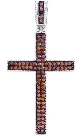 10kt Rose Gold Womens Round Red Colored Diamond Christian Cross Pendant 1/4 Cttw