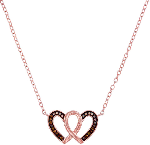 10kt Rose Gold Womens Round Red Colored Diamond Heart Awareness Ribbon Pendant Necklace 1/10 Cttw