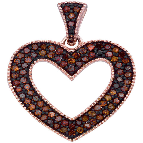 10kt Rose Gold Womens Round Red Colored Diamond Heart Love Pendant 1/4 Cttw