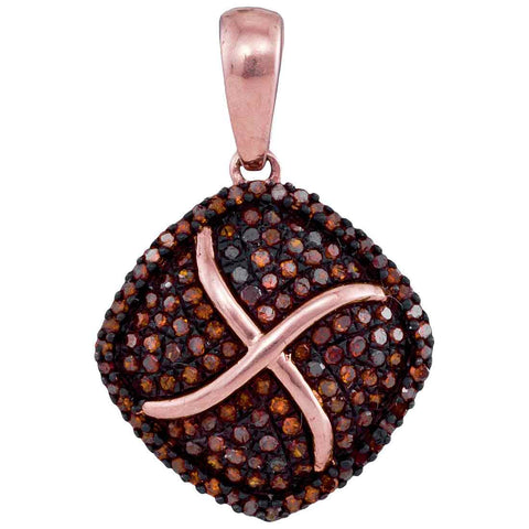 10kt Rose Gold Womens Round Red Colored Diamond Square Cluster Pendant 1/3 Cttw