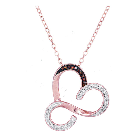 10kt Rose Gold Womens Round Red Colored Diamond Heart Love Pendant Necklace 1/8 Cttw