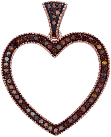 10kt Rose Gold Womens Round Red Colored Diamond Heart Love Pendant 1/5 Cttw