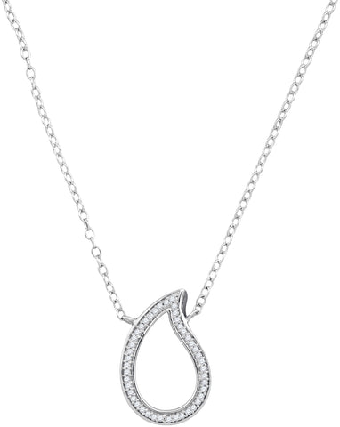 10kt White Gold Womens Round Diamond Teardrop Pendant Necklace 1/10 Cttw
