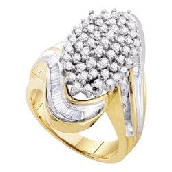 10kt Yellow Gold Womens Round Diamond Wide Cluster Ring 1.00 Cttw