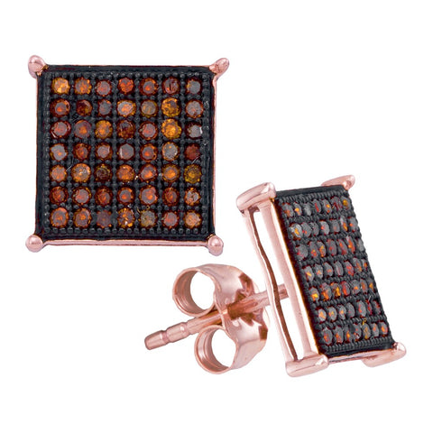 10kt Rose Gold Womens Round Red Colored Diamond Square Cluster Earrings 1/3 Cttw