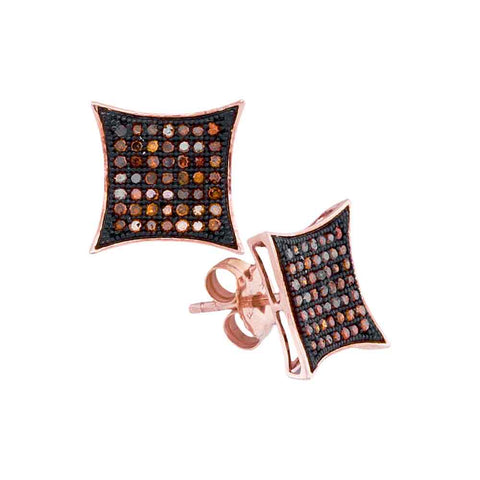 10kt Rose Gold Womens Round Red Colored Diamond Square Kite Cluster Earrings 1/3 Cttw