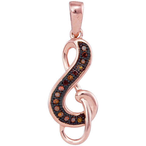 10kt Rose Gold Womens Round Red Colored Diamond Treble Clef Pendant 1/20 Cttw