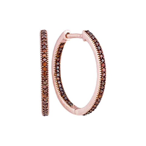 10kt Rose Gold Womens Round Red Colored Diamond Hoop Earrings 1/4 Cttw