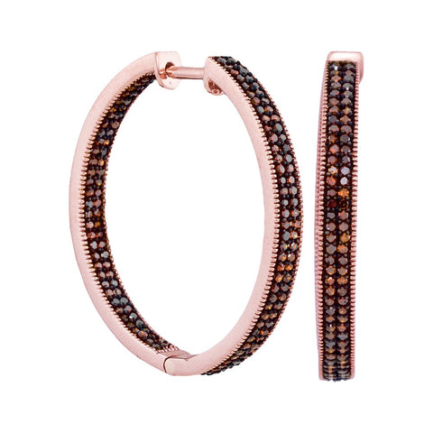 10kt Rose Gold Womens Round Red Colored Diamond Hoop Earrings 1.00 Cttw