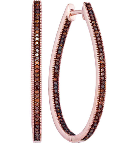 10kt Rose Gold Womens Round Red Colored Diamond Oval Hoop Earrings 1/2 Cttw