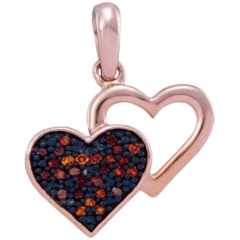 10kt Rose Gold Womens Round Red Colored Diamond Heart Love Pendant 1/12 Cttw