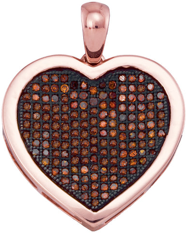 10kt Rose Gold Womens Round Red Colored Diamond Heart Love Cluster Pendant 1/2 Cttw