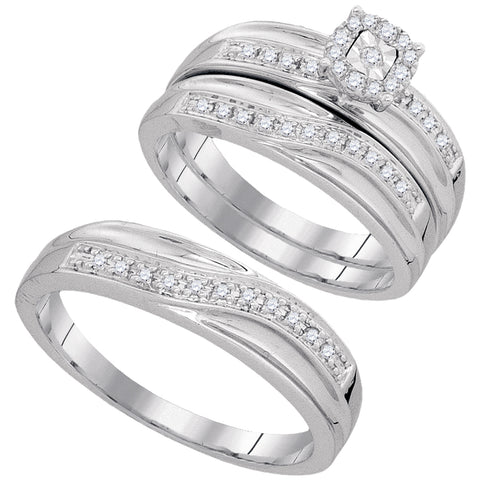 10k White Gold Round Diamond Matching Trio Mens Womens Wedding Bridal Ring Set 1/3 Cttw