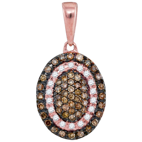 10kt Rose Gold Womens Round Cognac-brown Colored Diamond Oval Frame Cluster Pendant 1/4 Cttw