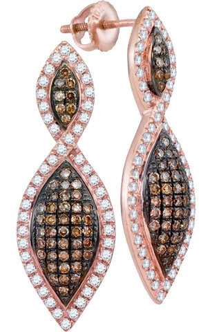 10kt Rose Gold Womens Round Cognac-brown Colored Diamond Oval Dangle Earrings 1.00 Cttw