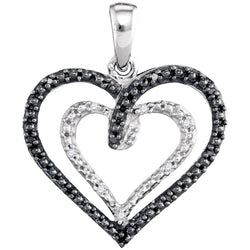 Sterling Silver Womens Round Black Colored Diamond Double Nested Heart Pendant 1/20 Cttw