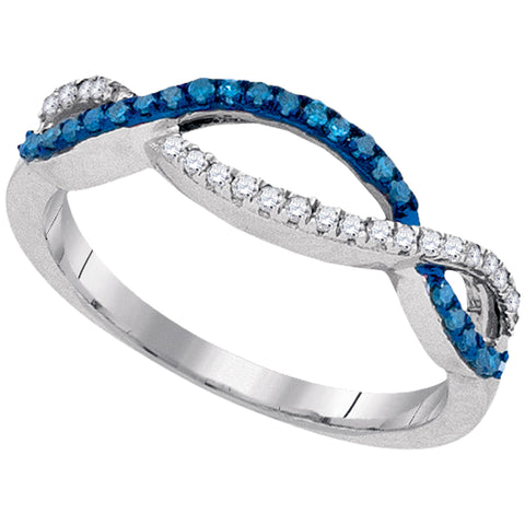 10kt White Gold Womens Round Blue Colored Diamond Twist Double Row Band 1/5 Cttw