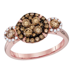 14kt Rose Gold Womens Round Cognac-brown Colored Diamond Circle Frame Cluster Bridal Wedding Engagement Ring 1.00 Cttw