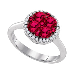14kt White Gold Womens Round Ruby Cluster Diamond Halo Bridal Ring 1-1/8 Cttw