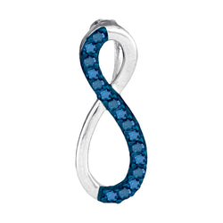 10kt White Gold Womens Round Blue Colored Diamond Vertical Infinity Love Pendant 1/10 Cttw