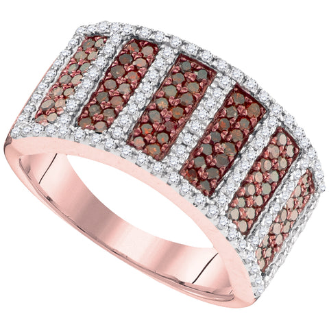 10kt Rose Gold Womens Round Red Colored Diamond Symmetrical Stripe Band 7/8 Cttw