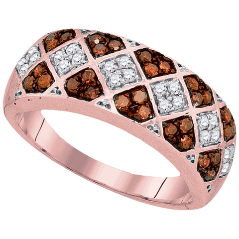 10kt Rose Gold Womens Round Red Colored Diamond Checkered Band 1/2 Cttw