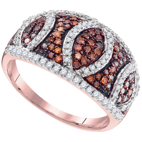 10kt Rose Gold Womens Round Red Colored Diamond Stripe Symmetrical Ring 3/4 Cttw