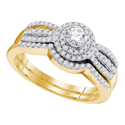 10K Yellow Gold Halo Cluster Diamond Bridal Engagement Wedding Ring Set 1/2 CT
