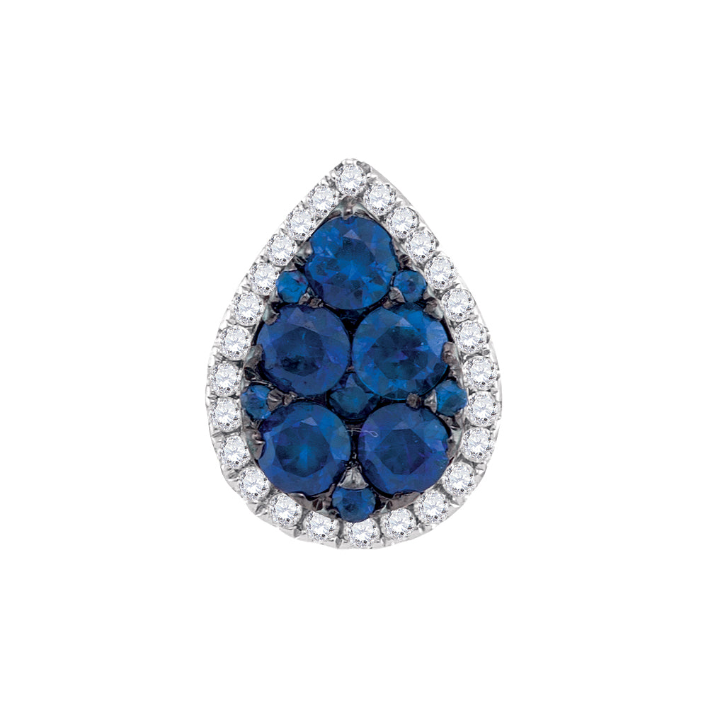 Ladies 14K White Gold Tear Drop Blue Sapphire Diamond Cluster Charm Pendant 1/8 CT