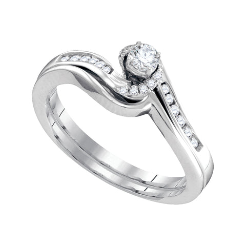10k White Gold Womens Round Diamond Bridal Wedding Engagement Ring Band Set 1/4 Cttw
