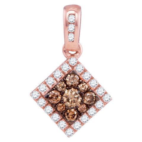 10kt Rose Gold Womens Round Cognac-brown Colored Diamond Diagonal Square Frame Pendant 1/3 Cttw