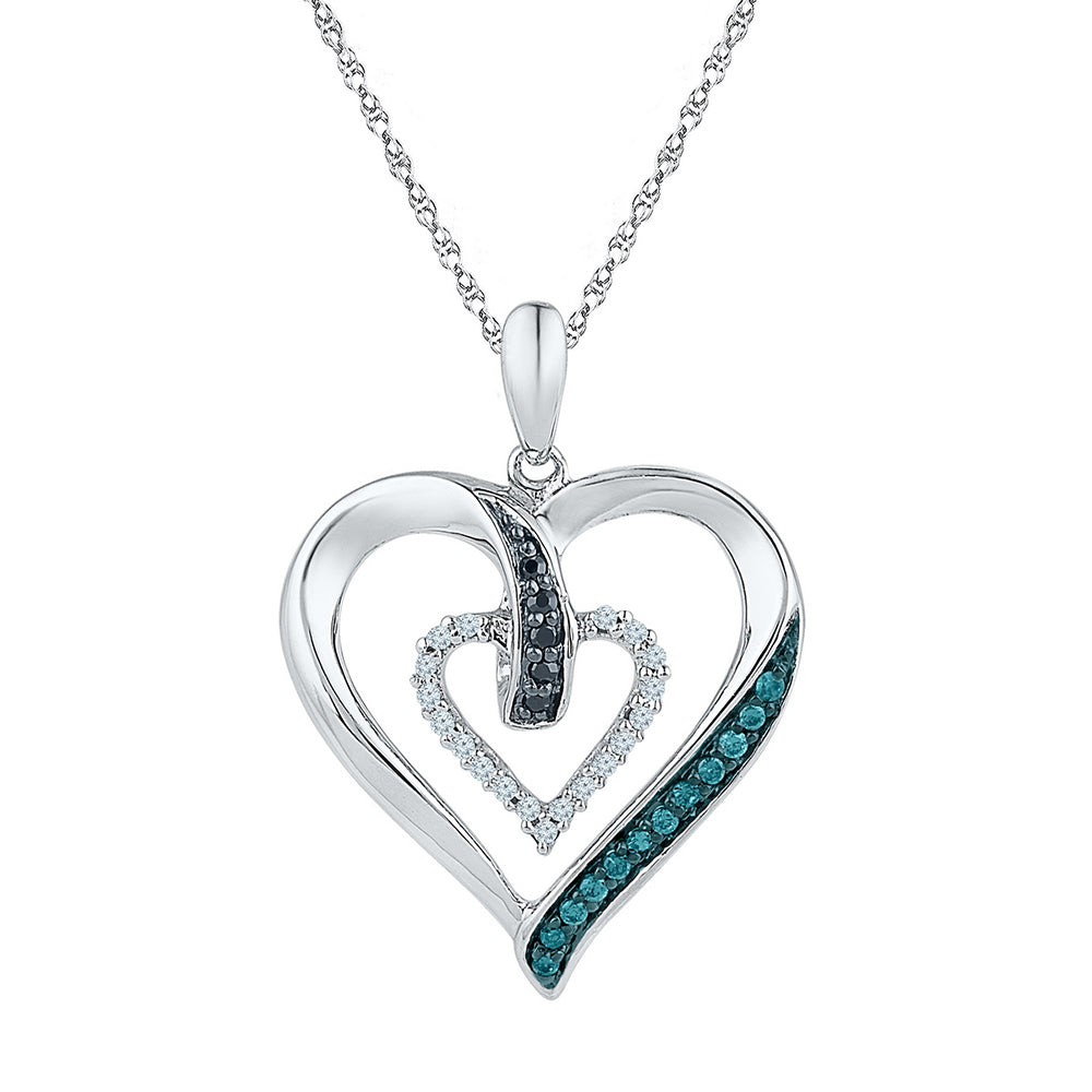 10K White Gold Ladies Love Heart Real Blue Colored Diamond Charm Pendant 1/6 CT