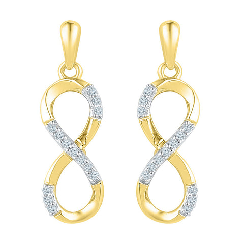 10k Yellow Gold Womens Round Diamond Infinity Dangle Screwback Earrings 1/10 Cttw
