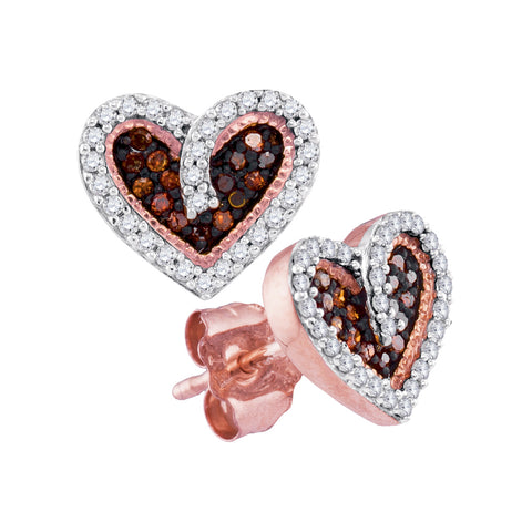 10kt Rose Gold Womens Round Red Colored Diamond Heart Love Screwback Earrings 1/5 Cttw
