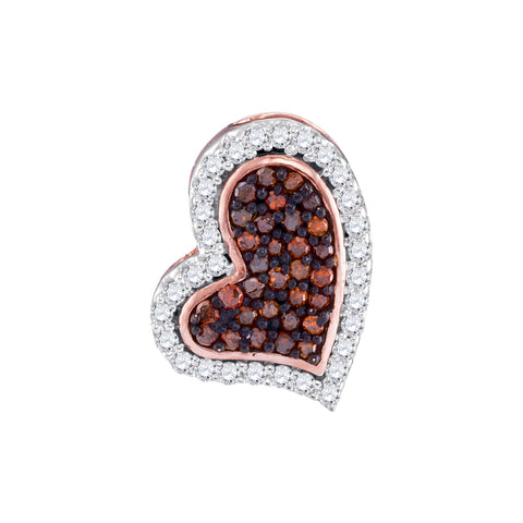 10kt Rose Gold Womens Round Red Colored Diamond Heart Pendant 1/8 Cttw