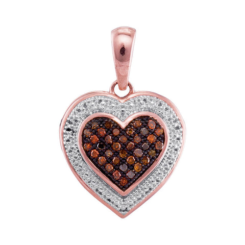 10kt Rose Gold Womens Round Red Colored Diamond Heart Love Pendant 1/8 Cttw