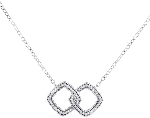 10kt White Gold Womens Round Diamond Linked Square Pendant Necklace 1/8 Cttw