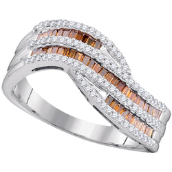 10kt Rose Gold Womens Baguette Red Colored Diamond Contour Band 1/2 Cttw