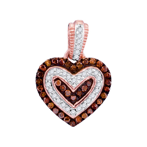 10kt Rose Gold Womens Round Red Colored Diamond Small Heart Pendant 1/5 Cttw