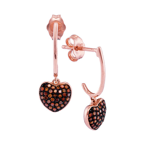 10kt Rose Gold Womens Round Red Colored Diamond Heart Dangle Earrings 1/4 Cttw