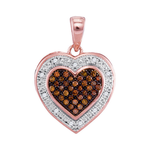 10kt Rose Gold Womens Round Red Colored Diamond Heart Halo Pendant 1/8 Cttw