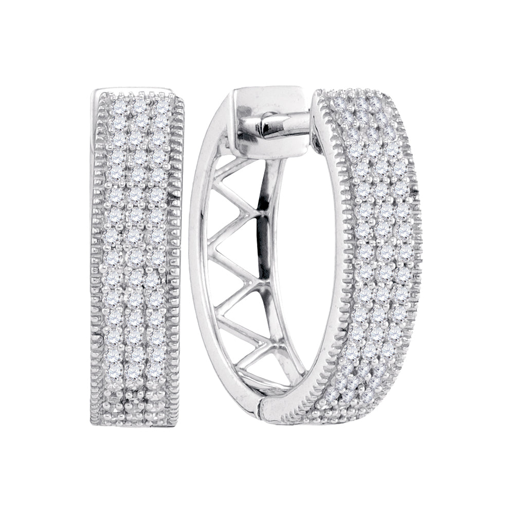 Ladies 10k White Gold 3 Row Pave Genuine Diamond Huggie Hoop Earrings 1/3 CT